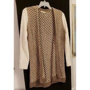 Woven soft wool long cardigan